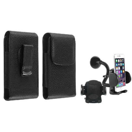 Insten Black Magnetic Flap Belt ClipLeather Case Pouch+Car Holder For iPhone 4 4G 4S