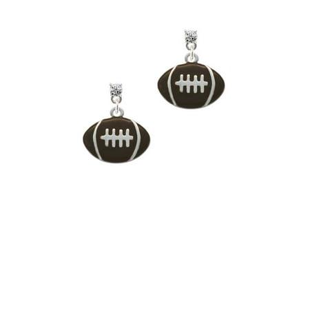 Silvertone Large Enamel Football Clear Crystal Post Earrings
