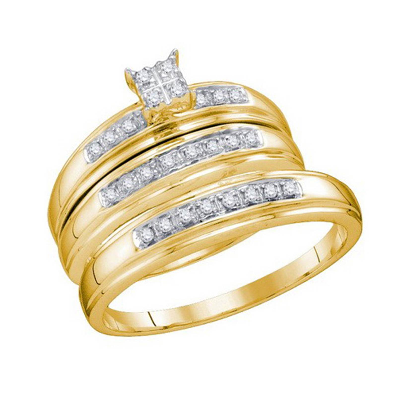 Bride Groom 10k Yellow Gold Diamond Cluster Trio Bridal Ring Set