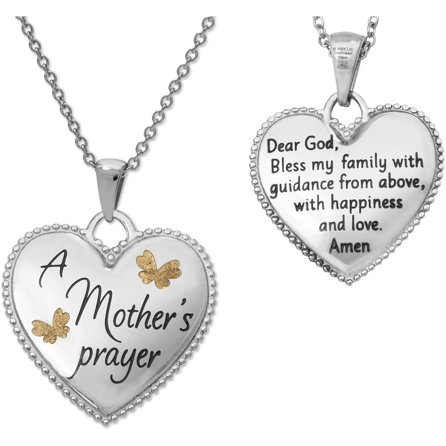 "Connections from Hallmark Stainless Steel ""A Mother's Prayer"" Butterflies Heart Pendant, 18"" Chain"