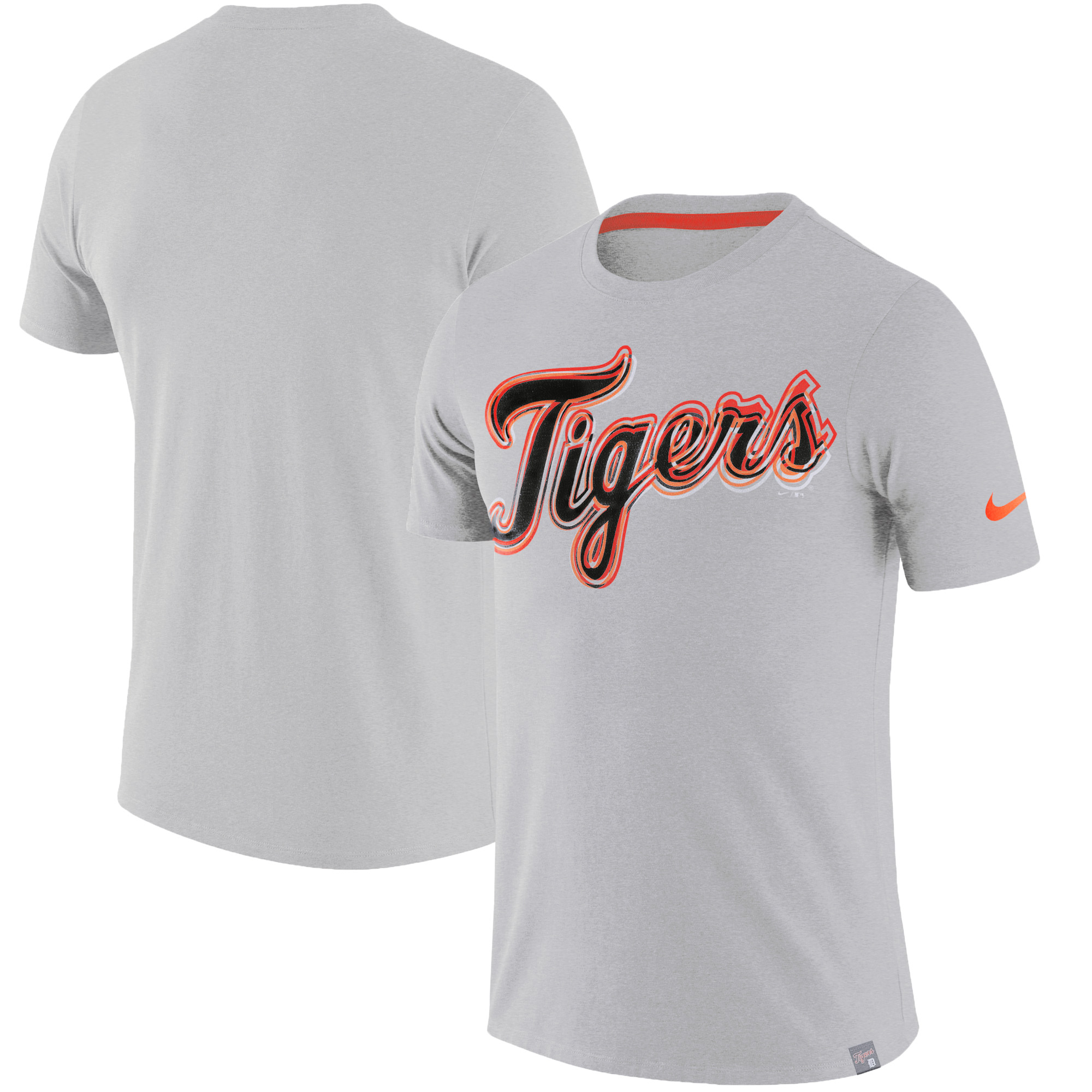new product detailed pictures first look Detroit Tigers Nike Marled Wordmark T-Shirt - Heathered Gray ...