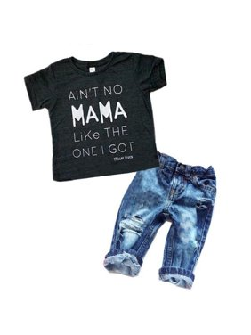 18650ce1f Product Image Newborn Toddler Infant Baby Boy Clothes T-shirt Top Tee  +Denim Pants Outfits Set