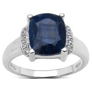 Malaika Sterling Silver 4 1/5ct TGW Sapphire and White Topaz Ring Size-6, Blue
