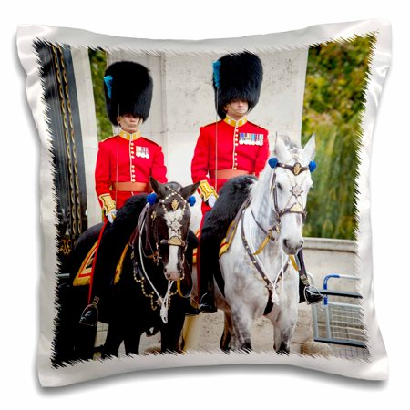 3dRose Mounted Royal Guard at Buckingham Palace, London, England, UK. - Pillow Case, 16 by 16-inch - London England Halloween