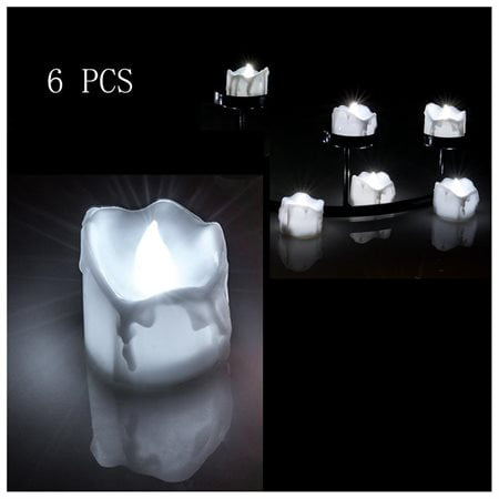 6 PCS Flameless Smokeless Flickering Flashing LED Tealight Candles Battery Operated for Wedding - Flickering Flameless Tea Lights