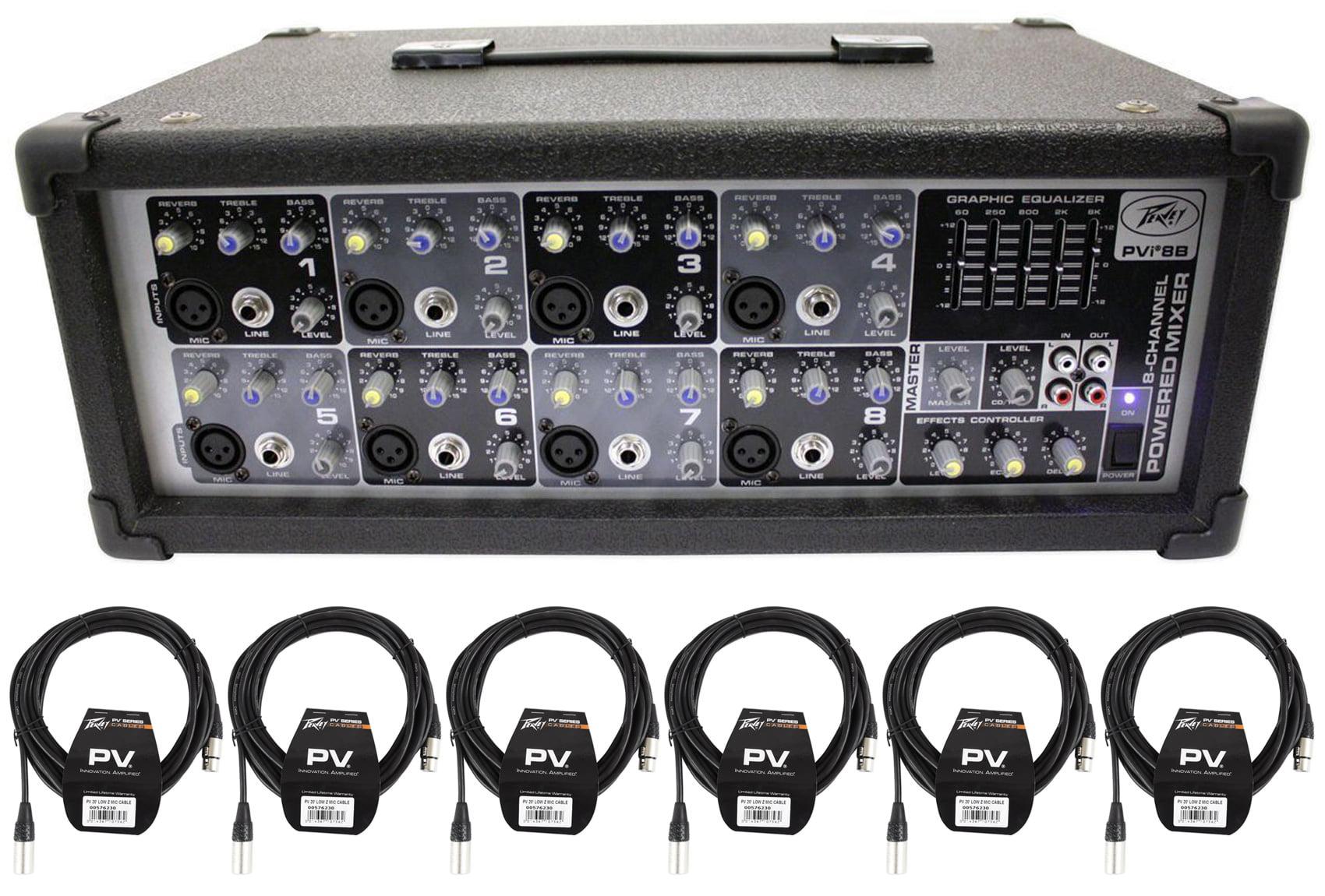 New! Peavey PVi8B 150 Watt 8 Channel Powered Mixer Console PVi 8B+(6) XLR Cables by Peavey