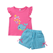 Kids Baby Girl Casual Summer Sets Clothes Whale Print Short Sleeve T-shirt Tops+Plaid Shorts 2Pcs Outfits Cotton Girl Sets 6M-5Y
