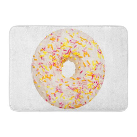 - GODPOK Baked Colorful Frosted One Vanilla Glazed Donut Pastry Topping Top View White Pink Doughnut Bakery Rug Doormat Bath Mat 23.6x15.7 inch