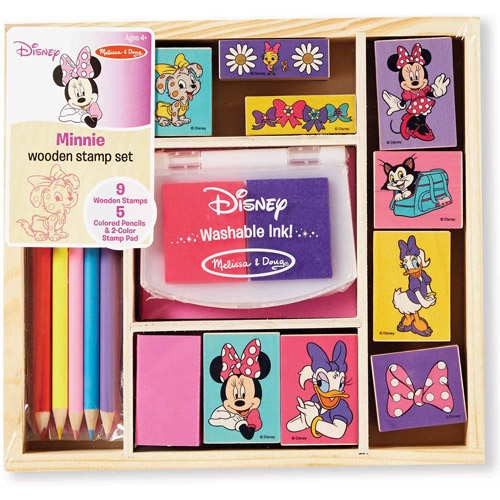Melissa & Doug Disney Minnie Mouse Wooden Stamp Set: 9 Stamps, 5 Colored Pencils