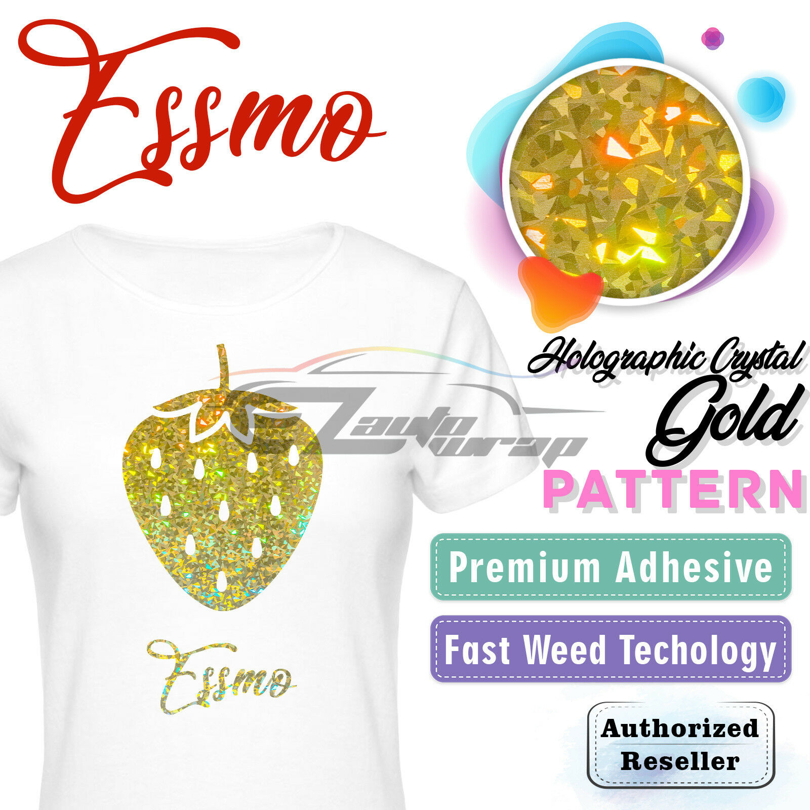 "Holographic Crystal Gold Heat Transfer Vinyl HTV T-Shirt 20/"" Iron On Heat Press"