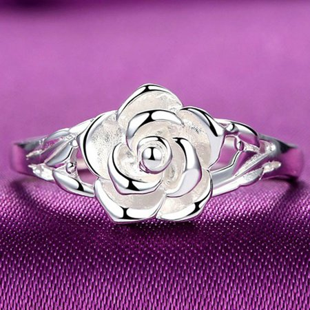 AkoaDa Women Fashion 925 Sterling Silver Rose Ring Courtship Engagement Wedding Party Jewelry 925 Sterling Ladies Ring