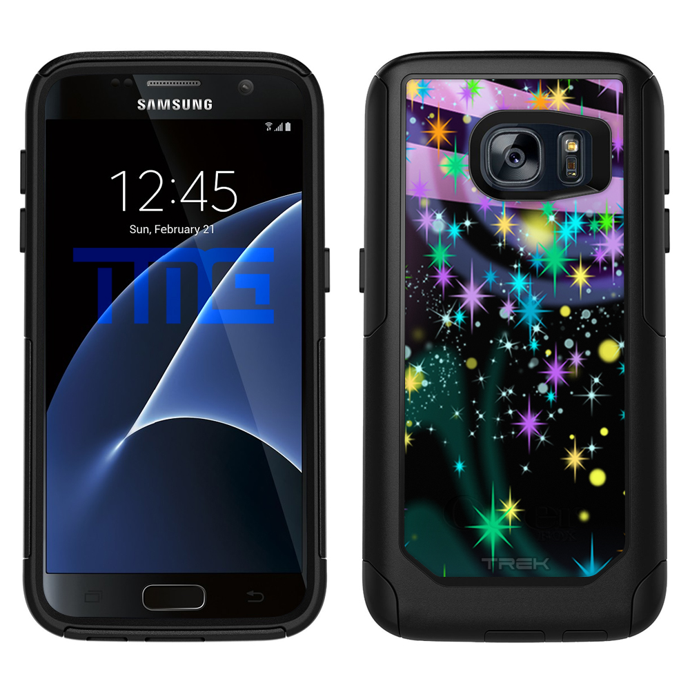 SKIN DECAL FOR OtterBox Commuter Samsung Galaxy S7 Case - Neon Fairy Sparkles at Twilight on Black DECAL, NOT A CASE