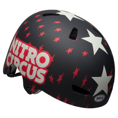Bell Nitro Circus Ollie Multisport Helmet, Black/Red Stars, Youth 8+ (Bell Star Rsd Black Beauty Carbon Helmet)