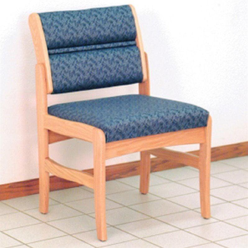 Dakota Wave Valley Armless Leg Chair in Medium Oak