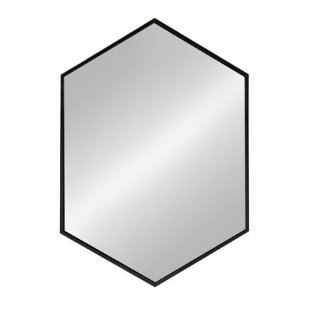 Kate and Laurel McNeer Large Hexagon Metal Wall Mirror, 31x22, Black ()