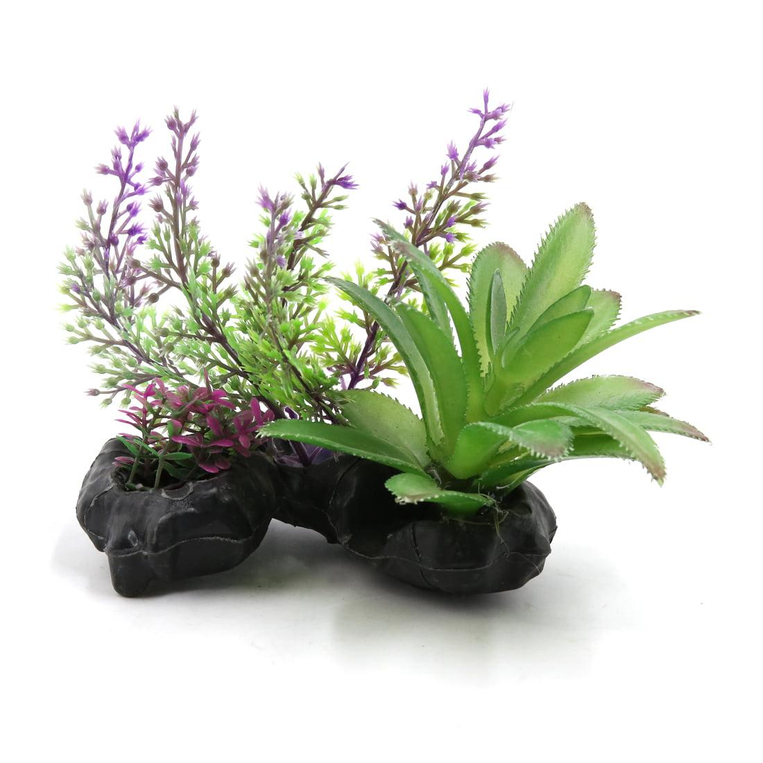Purple Plastic Fish Tank Terrarium Plants Ceramic Base Decoration for Reptiles