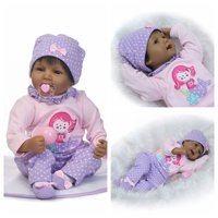 "UBesGoo Reborn Baby Doll Real Life Soft Silicone 22"" Realistic Newborn Black Baby Dolls African American Girl Cute Doll Gift for Ages 3+"