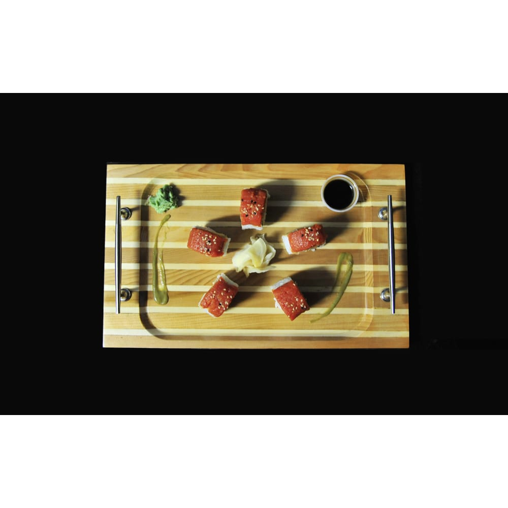 "Chris Craft Serving Sushi Rectangular Tray 14.5/"" Red Cedar Wood Nautical Decor"