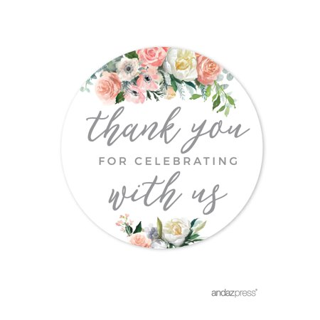 Party City Coral Way (Peach Coral Floral Garden Party, Round Circle Label Stickers, Thank You for Celebrating With Us,)