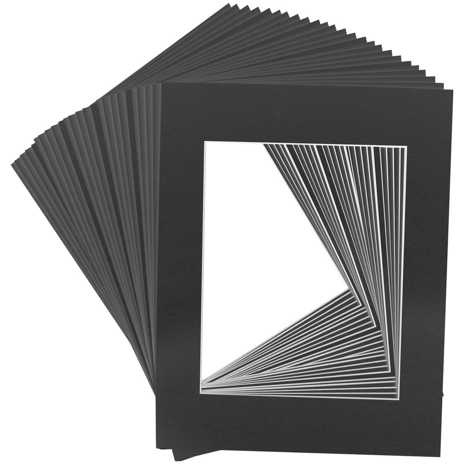 Mat Board Center Crescent 11x14 Black Picture Mat Sets for 8x10 Photo.