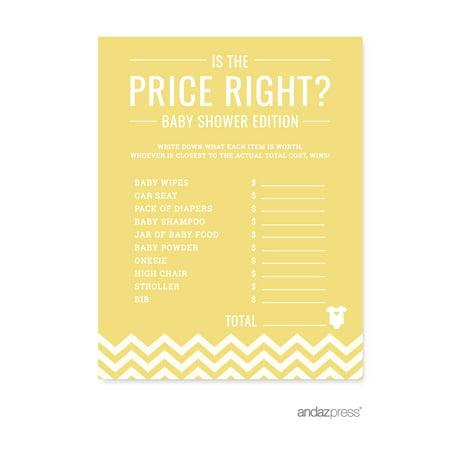 Is The Price Right? Yellow Chevron Baby Shower Games, 20-Pack - Yellow Ducks Baby Shower Theme