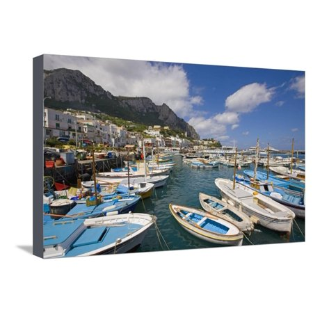 Port and Village of Marina Grande Stretched Canvas Print Wall Art By Massimo Borchi