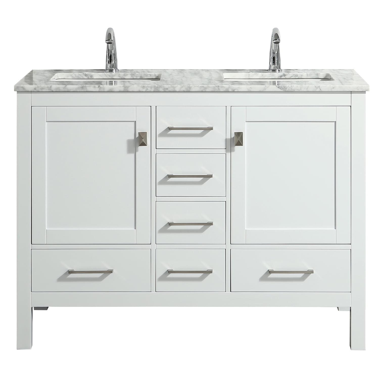 Eviva London 48 Transitional White, White 48 Inch Bathroom Vanity