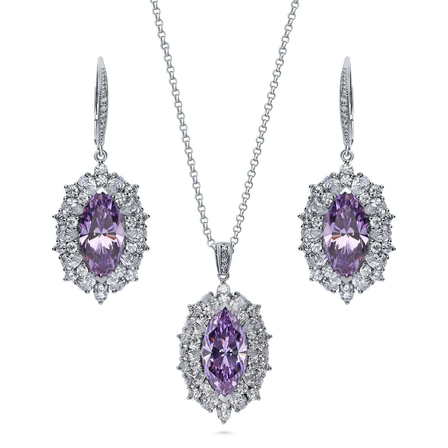 BERRICLE Rhodium Plated Sterling Silver Cubic Zirconia CZ Halo Necklace and Earrings Set