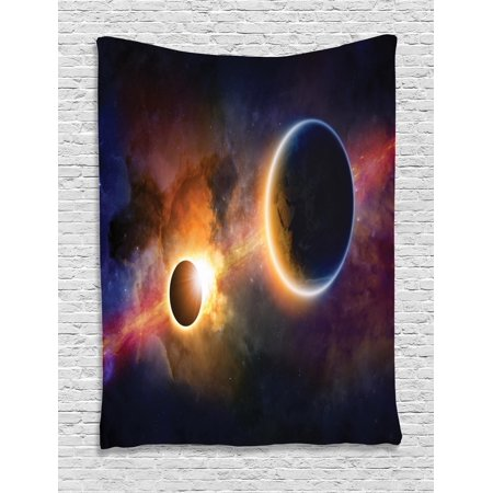Outer Space Decor Tapestry  Planet In Milky Way Dark Nebula Gas Cloud Celestial Solar Eclipse Galaxy Theme  Wall Hanging For Bedroom Living Room Dorm Decor  60W X 80L Inches  Multi  By Ambesonne