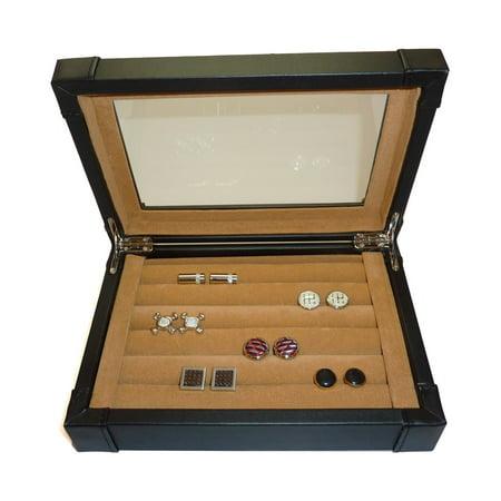 Black Leatherette Cufflinks & Ring Storage Case Organizer Men's or Women's Jewelry Gift Box ()