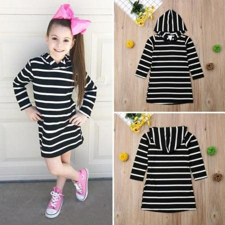 Kids Baby Girls Casual Dress Long Sleeve Hoodie Hooded Jumper Sweater Tops 6M-5T