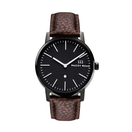 A.N.ENTERPRISES McCoy Road 'Nine30' Stainless Steel Black and Brown Leather Strap Watch with Date