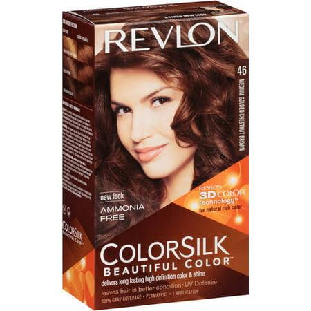 Revlon Colorsilk Permanent Hair Color, Medium Golden Chestnut Brown  Walmart.com
