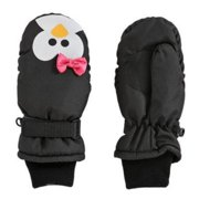 Aquarius Girls Black Penguin Snow & Ski Mittens Fleece & Thinsulate Lining