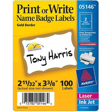 Avery(R) Print or Write Name Badge Labels with Gold Border 5146, 2-11/32