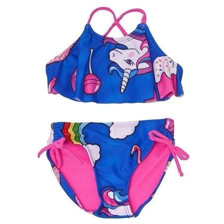 Little Girls Dark Blue Unicorn Print Flounce Overlay 2 Pc Bikini Swimsuit Blue 2 Bikini