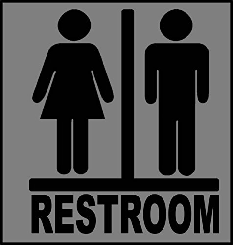 Transgender Restroom *J377* BLACK sign sticker decal business door 6x7 inch vinyl store
