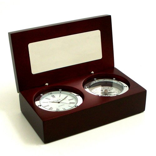 Bey-Berk International Clock / Compass in Wood Box - Tarnish Proof