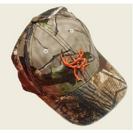 0c882f17713 Buck Commander Realtree Camo Flex Fit Hat Cap w Orange Deer Head Logo BC-HAT-OD  - Walmart.com