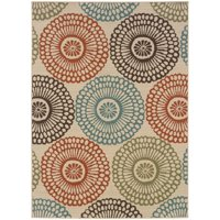 Oriental Weavers of America Petaluma Floral Indoor/Outdoor Polypropylene Rug, Beige