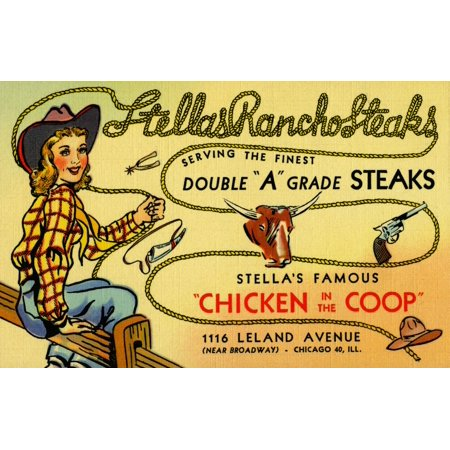 A western themed vintage advertising postcard from a Chicago restaurant Stellas Rancho Steak that specialized in double A grade steaks and also is famous for its Chicken in the Coop Poster Print by Cu