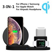 Qi Wireless Fast Charger Pad Stand for iPhone 11 Pro X XS Max XR 8 Plus, for Samsung Galaxy S10 S9 S8, Wireless Charging Station Dock for Apple Watch Series 4/3/2/1 & Airpods