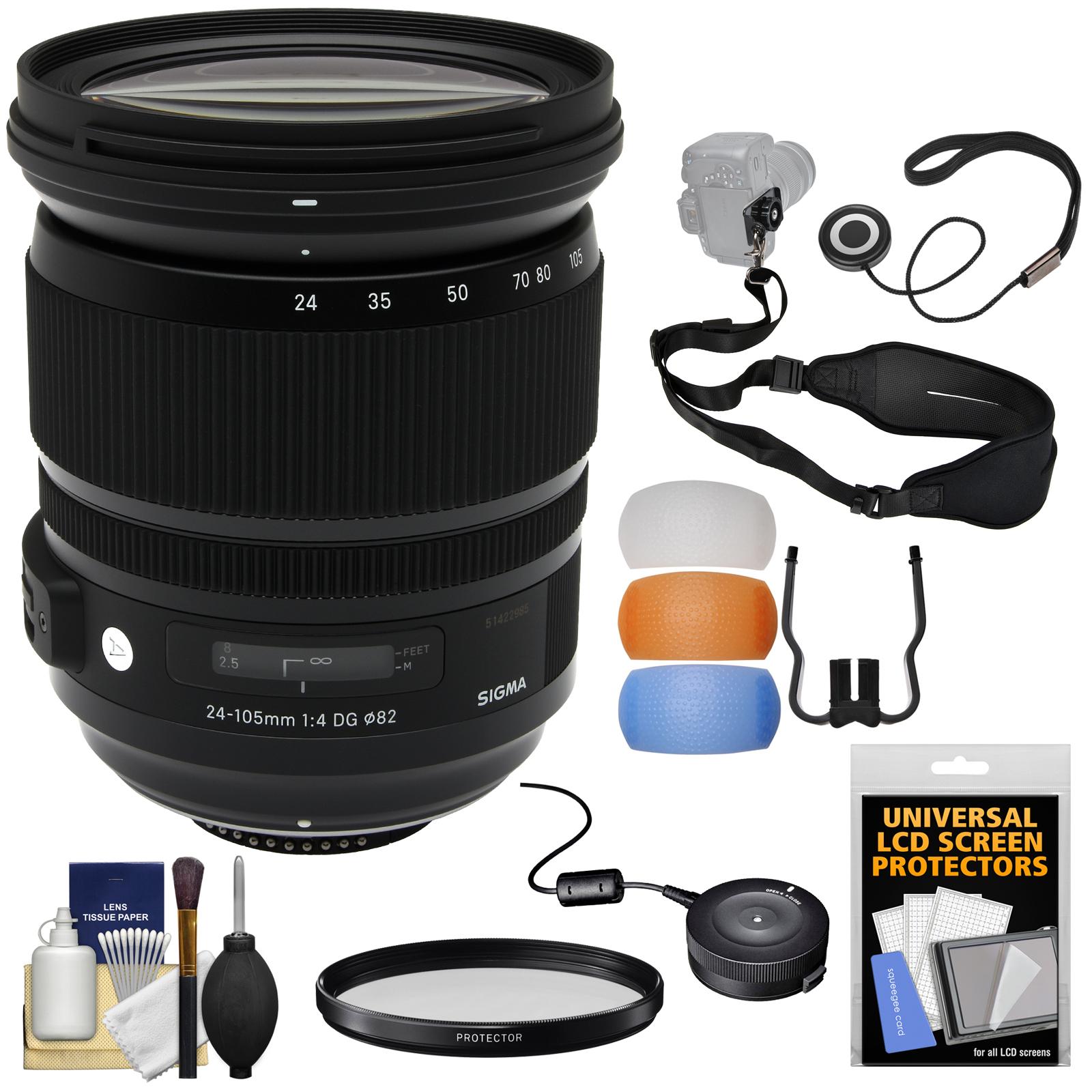 Sigma 24-105mm f/4.0 ART DG OS HSM Zoom Lens with USB Dock + Filter + Sling Strap + Diffusers + Kit for Nikon Digital SLR Cameras