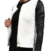 Womens PU Leather Zipper Collarless Coat Long Sleeve Jacket Winter Outwear Cardigan Slim Top