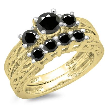 Dazzlingrock Collection 1.50 Carat (ctw) 14K Black Diamond Vintage 3 Stone Engagement Ring Set 1 1/2 CT, Yellow Gold, Size 8.5