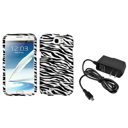 Insten Black Zebra Hard Case+Home AC Wall Charger For Samsung Galaxy Note 2 II
