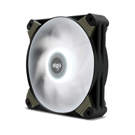 Aigo ICY-Series X1 120mm LED Quiet Edition High Airflow Hybrid-Design Silent Fan Computer Cases CPU Coolers Radiators Ultra Quiet Computer PC Case Fan (1 Pack, White)