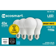EcoSmart 40-Watt Equivalent A19 Dimmable Energy Star LED Light Bulb Bright White (4-Pack)