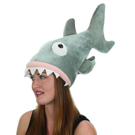 Adults Great White Biting Shark Sea Creature Velvet Hat Costume Accessory - Shark Adult Costume