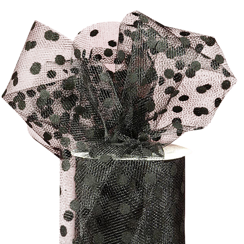 "Black Polka Dot Tulle 6"" X 25 Yards by Paper Mart"